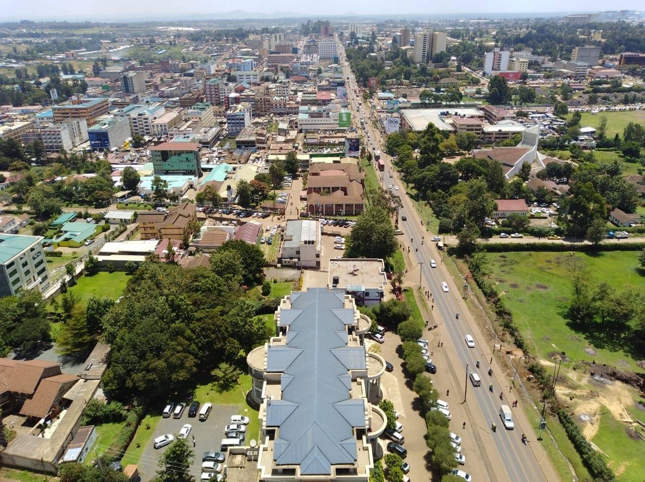 Aerial view of Eldoret Town and A104 Mombasa-Uganda Road. Photo Courtesy