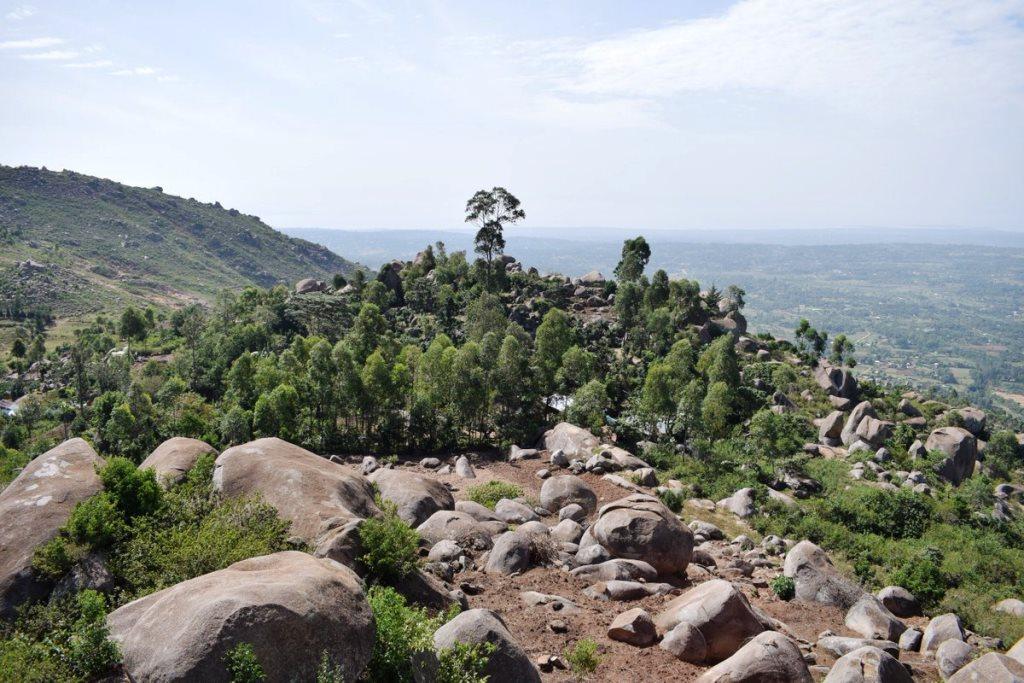 View atop the rocky Maragoli Hills, overlooking Maseno.  Photo Courtesy of Dala Adventures