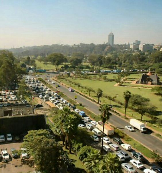 View from Capitol Hill of a traffic snarl-up on Uhuru Highway, Nairobi.  Photo Courtesy
