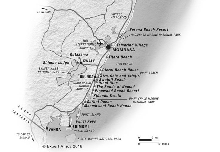Map of the South Coast of Kenya.  All Right Reserved to Expert Africa