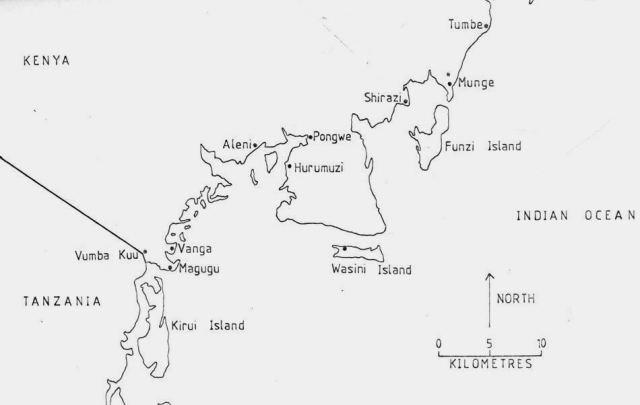 Map of Historic Sites along Kwale's Coastline. Image Courtesy