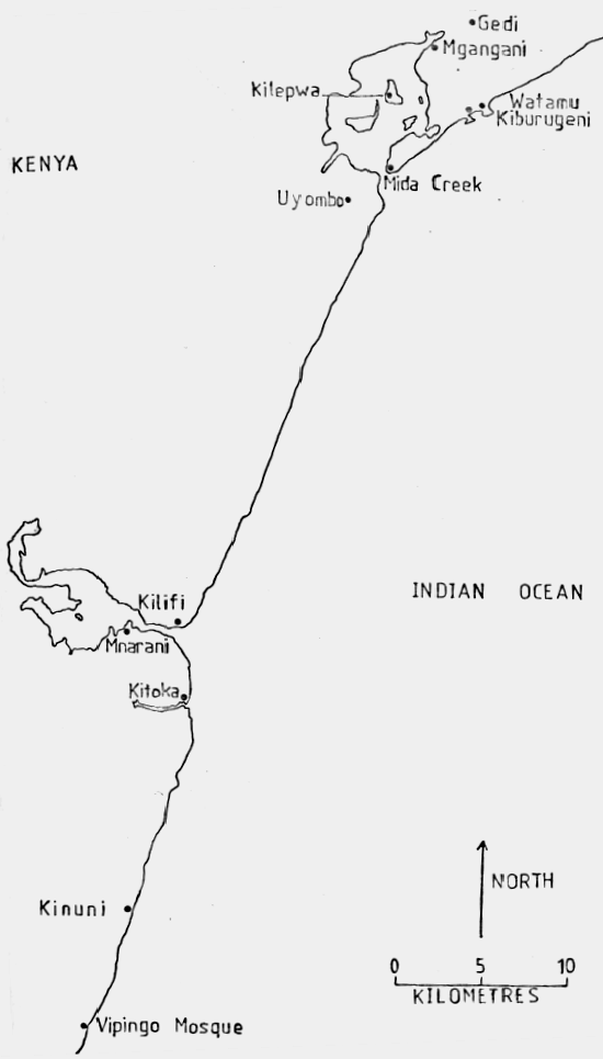 Map of Historic Sites along the Lower Coastline of Kilifi County. Image Courtesy