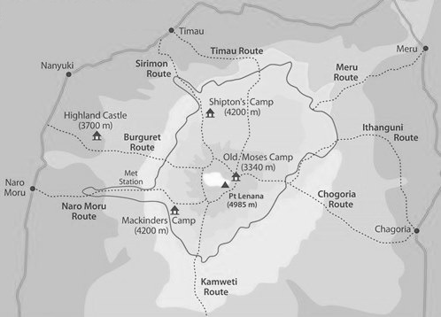 Hiking Routes - Mount Kenya.  Courtesy of Adventure Alternative