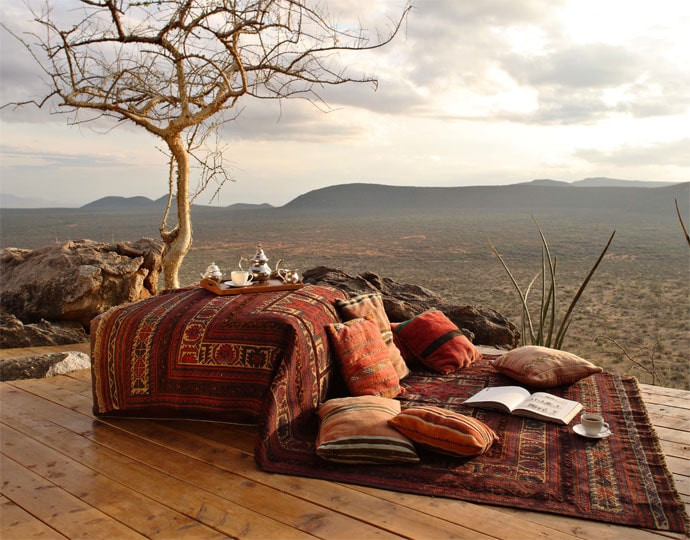 Delightful outdoor deck at Saruni Samburu Lodge.  Image Courtesy of Saruni
