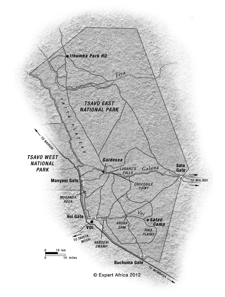Map of Tsavo East National Park.  All Rights Reserved to Expert Africa