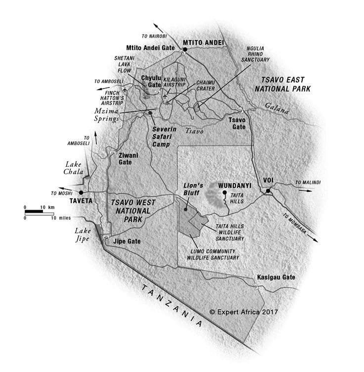 Map of Tsavo West National Park.  All Rights Reserved to Expert Africa