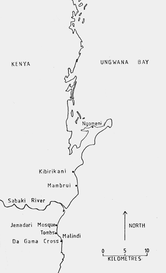 Map of Historic Sites along the Upper Coastline of Kilifi County. Image Courtesy