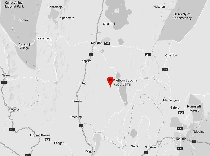 Spatial Location of the Kudu Camp near the shore of Lake Bogoria National Reserve