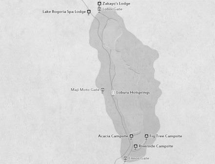 Map of Lake Bogoria National Reserve.  All Rights Reserved to Safari Bookings