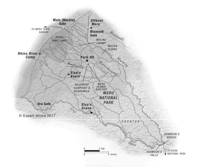 Map of Meru National Park. All Rights Reserved to Expert Africa