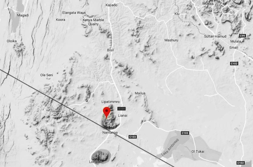 Spatial Location of Ol Donyo Orok in Kajiado County.