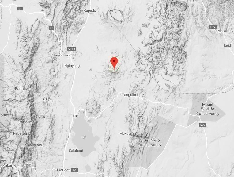 Spatial location of Paka Volcano. Map Courtesy Google Maps