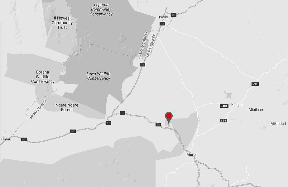 Spatial Location of Lake Nkunga in Meru County