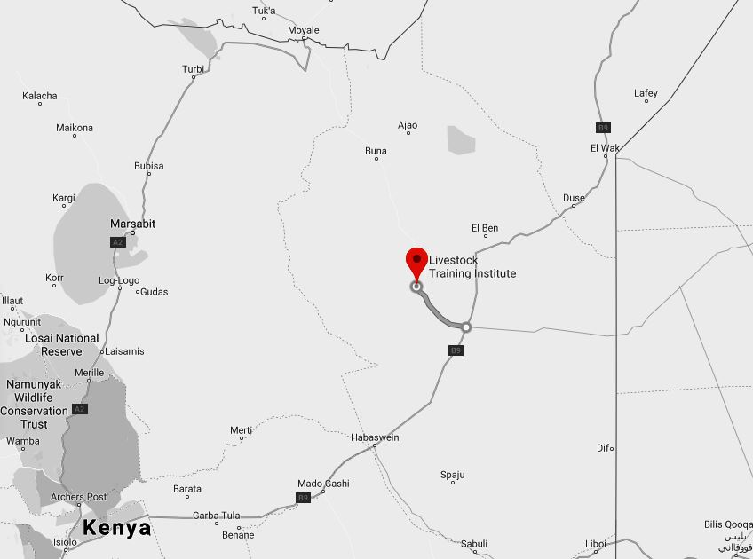 Spatial Location of Grosso Griftu College in Wajir County