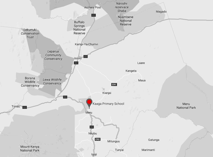 Spatial Location of Kaaga Primary School in Meru County