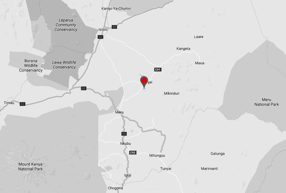 Spatial Location of Nchiru in Meru County