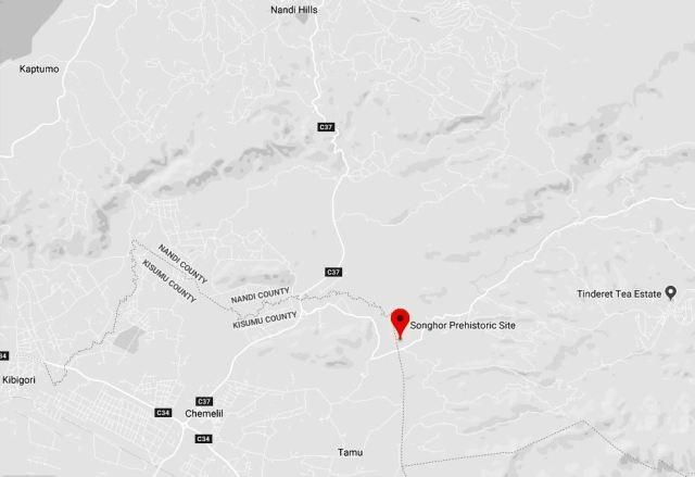 Spatial Location of Songhor Pre-historic Site.