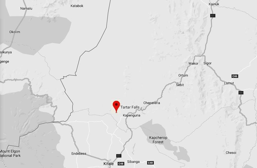 Spatial Location of Tartar Falls in West Pokot County