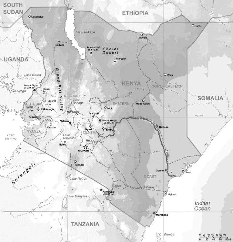 Spartial Distribution of the Tana River Basin in Kenya.  Image by Wiki
