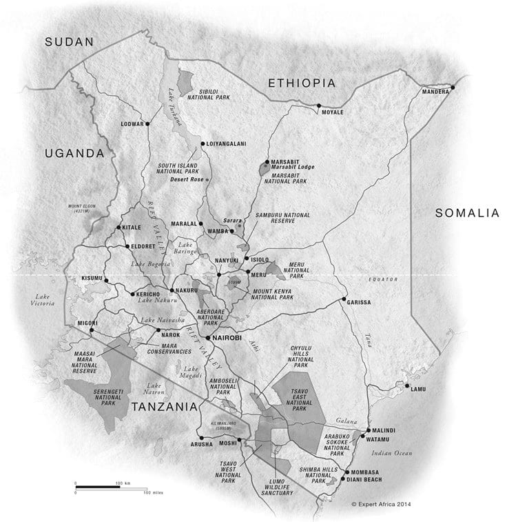 Map of Game Parks in Kenya.  All Rights Reserved to Expert Africa