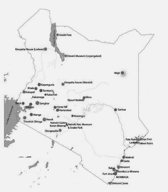 Map of Museums in Kenya.  All Rights Reserved to National Museums of Kenya