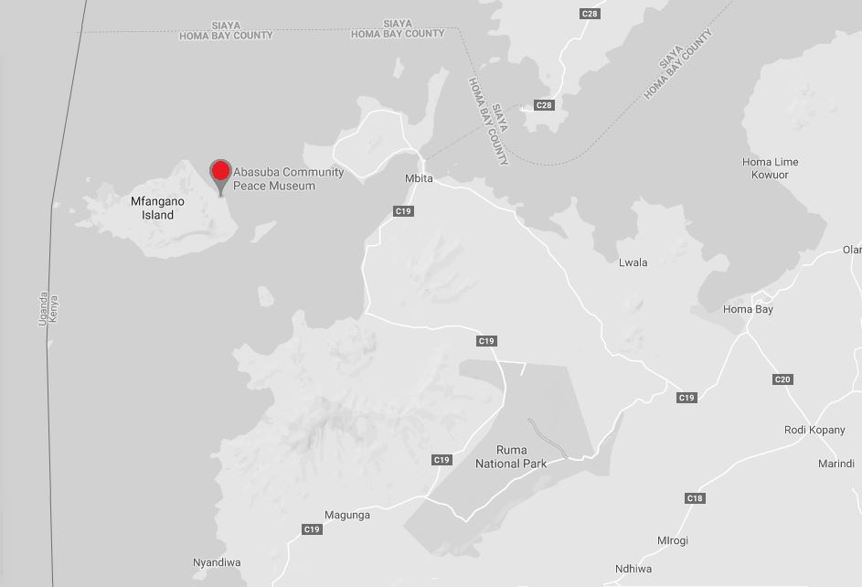 Spatial Location of Abasuba Peace Museum in Homa Bay County