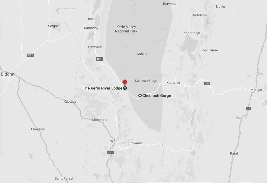 Spatial Location of Kerio River Lodge in Elgeyo Marakwet