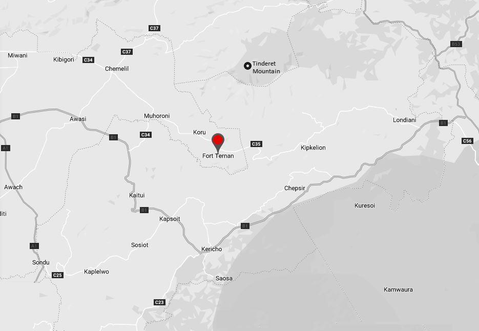 Spatial Location of Fort Ternan in Kericho County