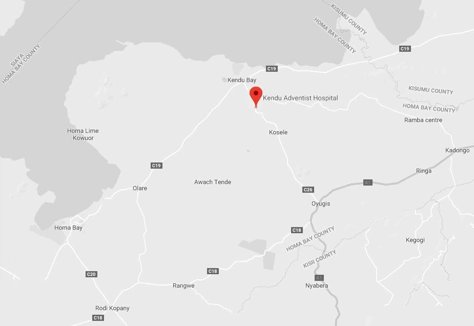 Spatial Location of Kendu Adventist Hospital in Homa Bay County