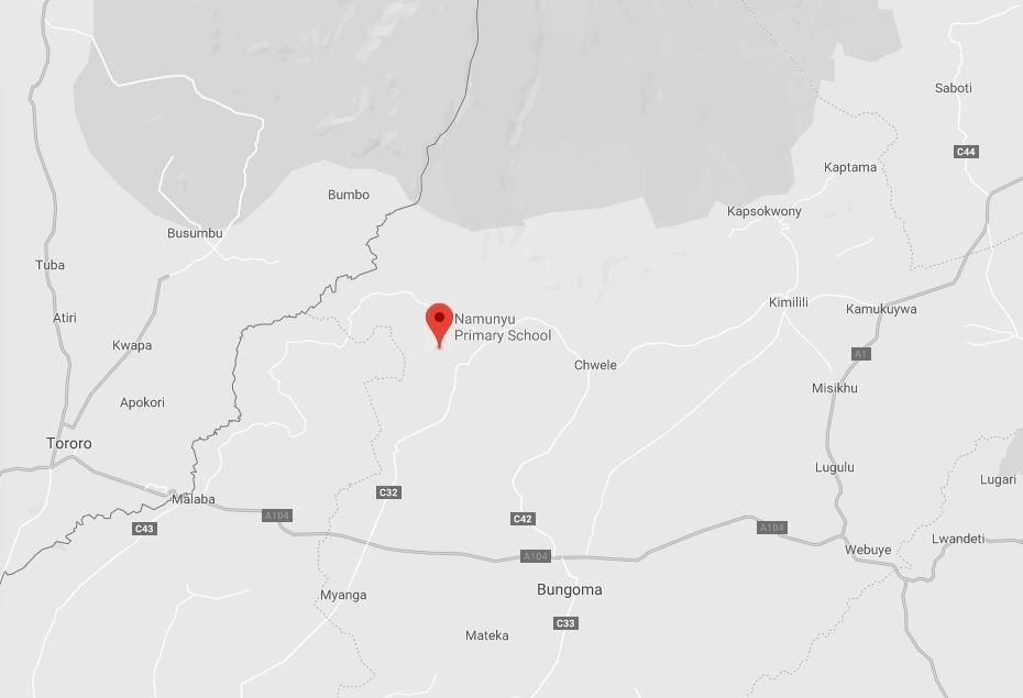 Spatial Location of Namunyu Primary School in Bungoma County