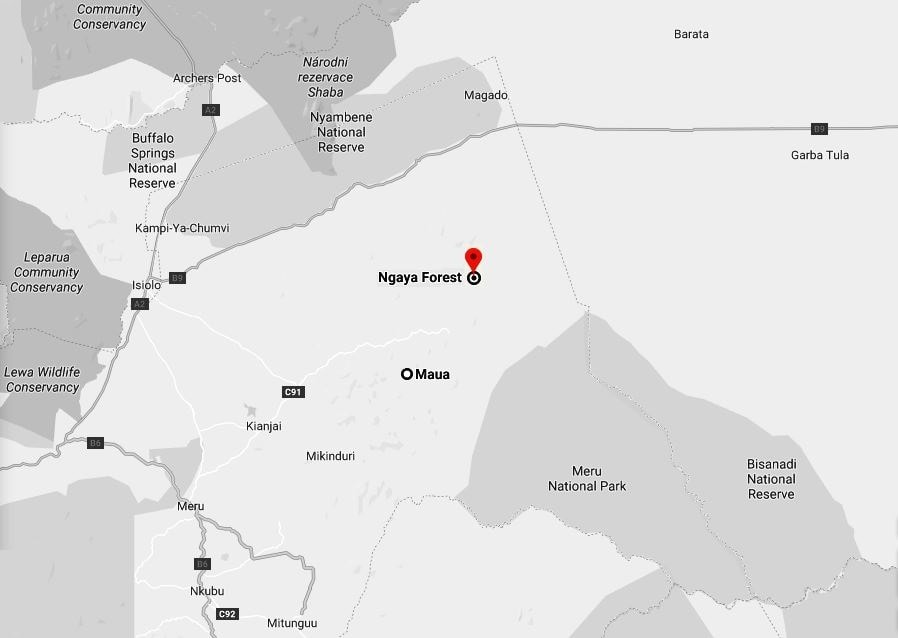 Spatial Location of Ngaya Forest in Meru County