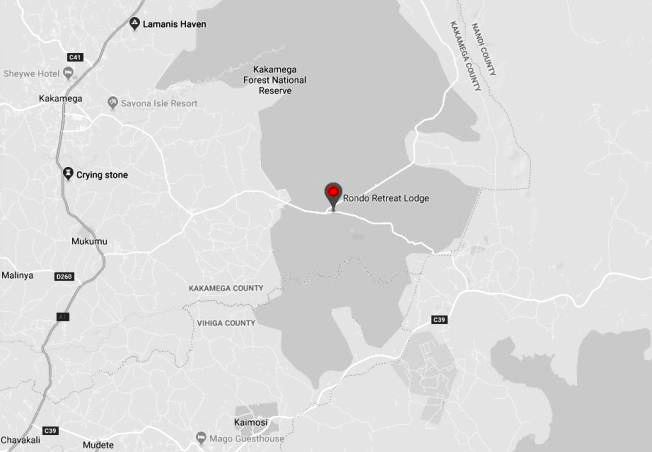 Spatial Location of Rondo Retreat Lodge within Kakamega Forest Ecosystem