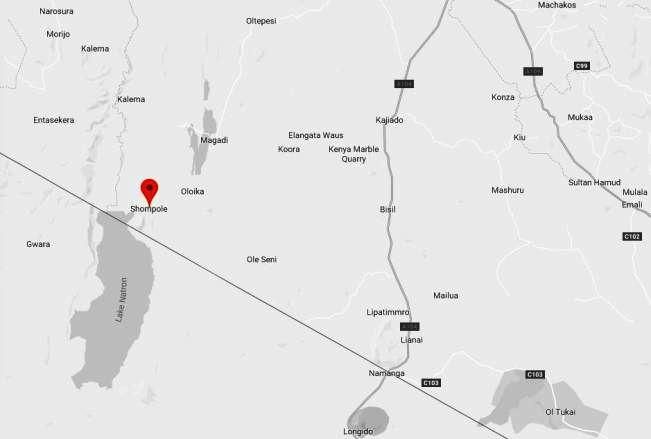 Spatial Location of Shompole in Kajiado County