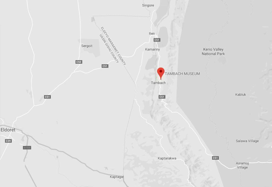 Spatial Location of Tambach Museum in Elgeyo Marakwet