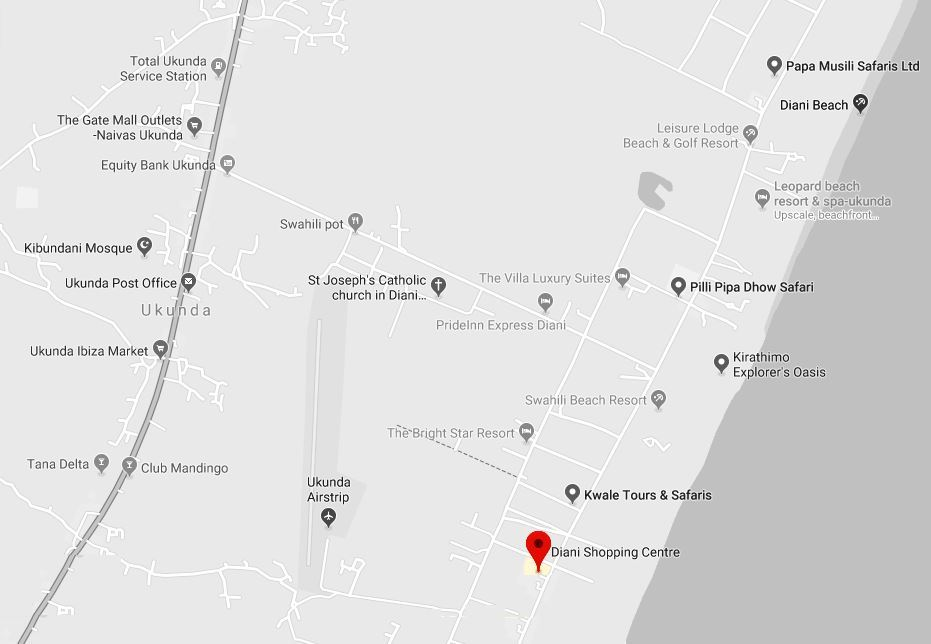 Spatial Location of Diani Shopping Mall along Diani Beach Road