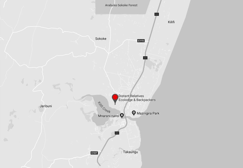 Spatial Location of Distant RElatives Ecolodge in Kilifi County