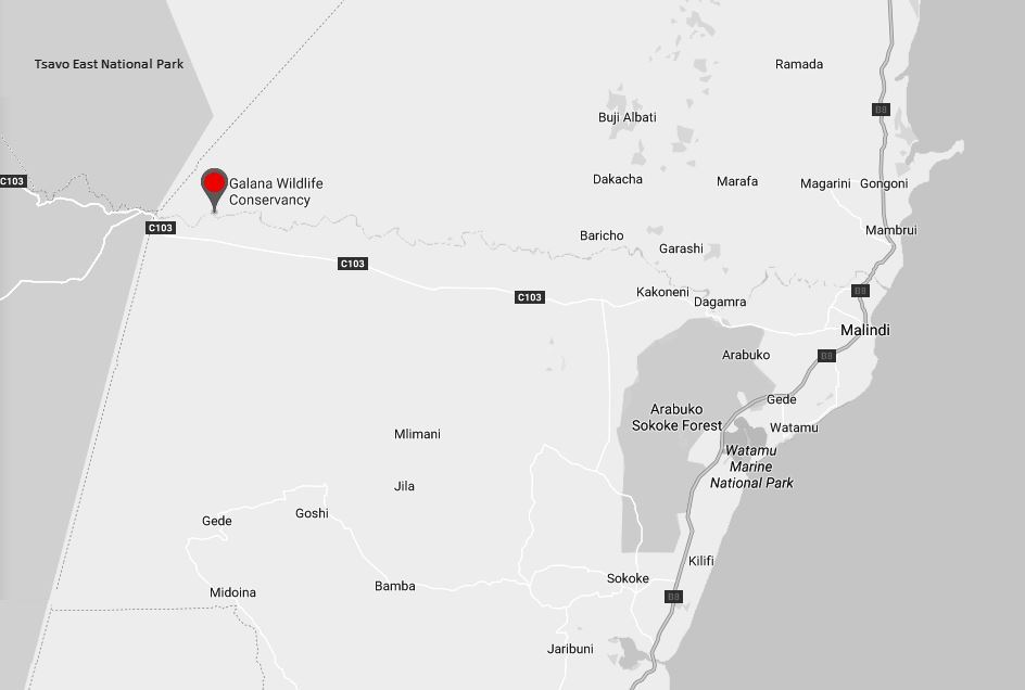 Spatial Location of Galana Wildlife Conservancy in Kilifi County