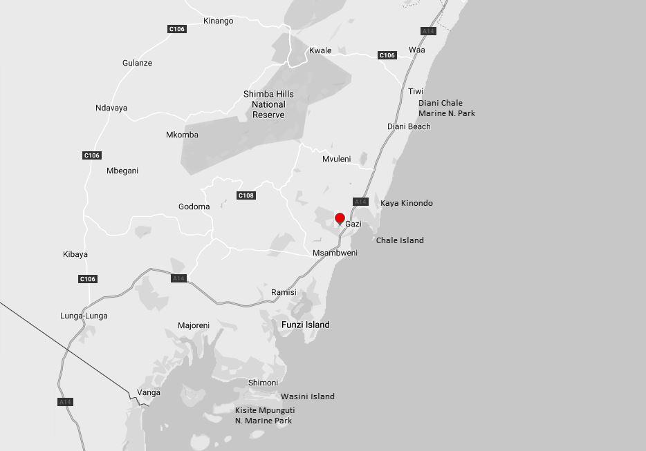Spatial Location of Gazi Beach in Kwale County