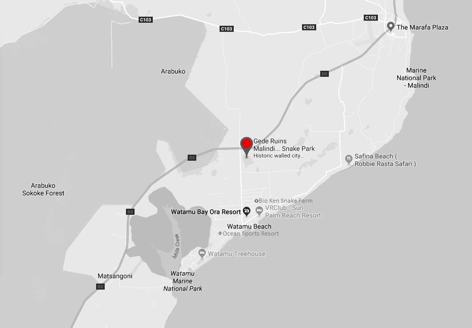Spatial Location of Gede Ruins in Kilifi County