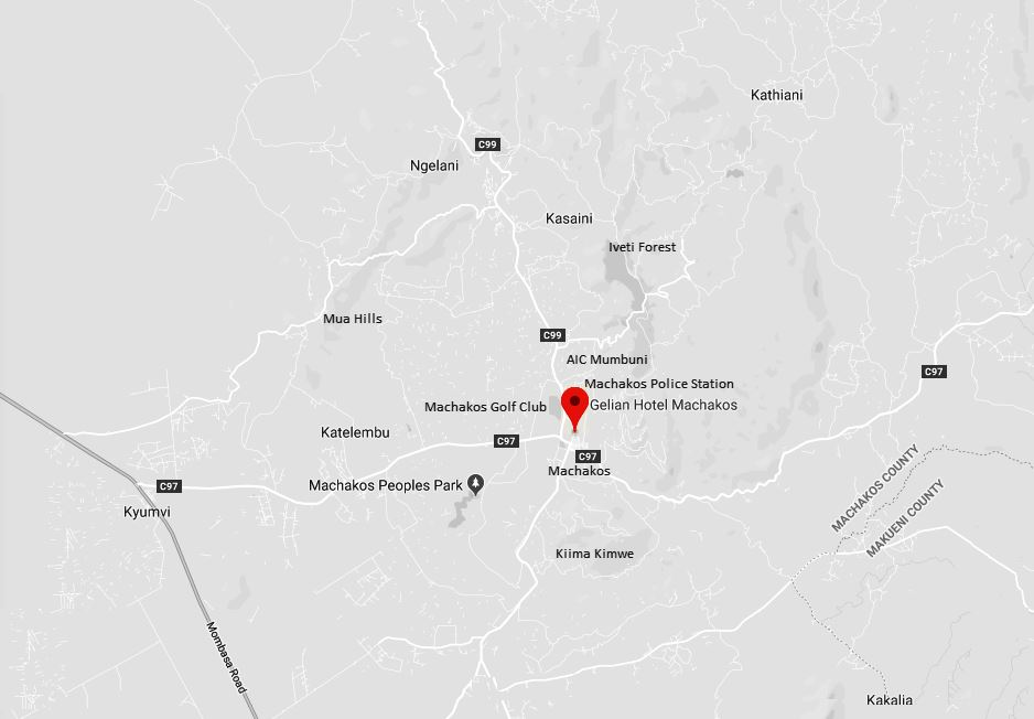 Spatial Location of Gelian Hotel in Machakos Town