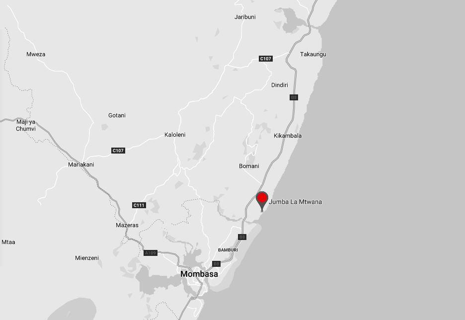 Spatial Location of Jumba la Mtwana in Kilifi County