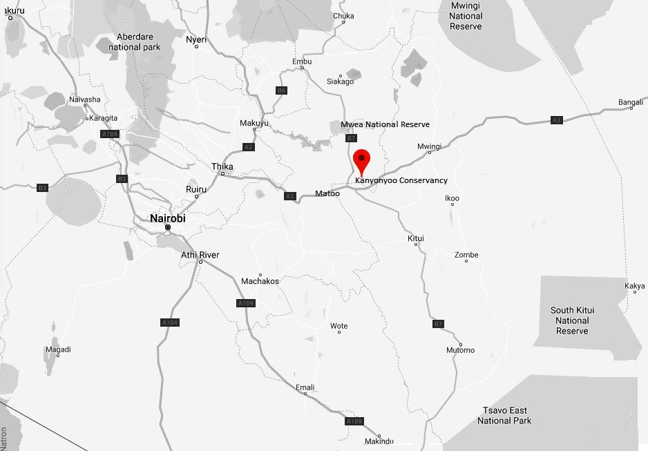 Spatial Location of Kanyonyoo Wildlife Conservancy in Kitui County