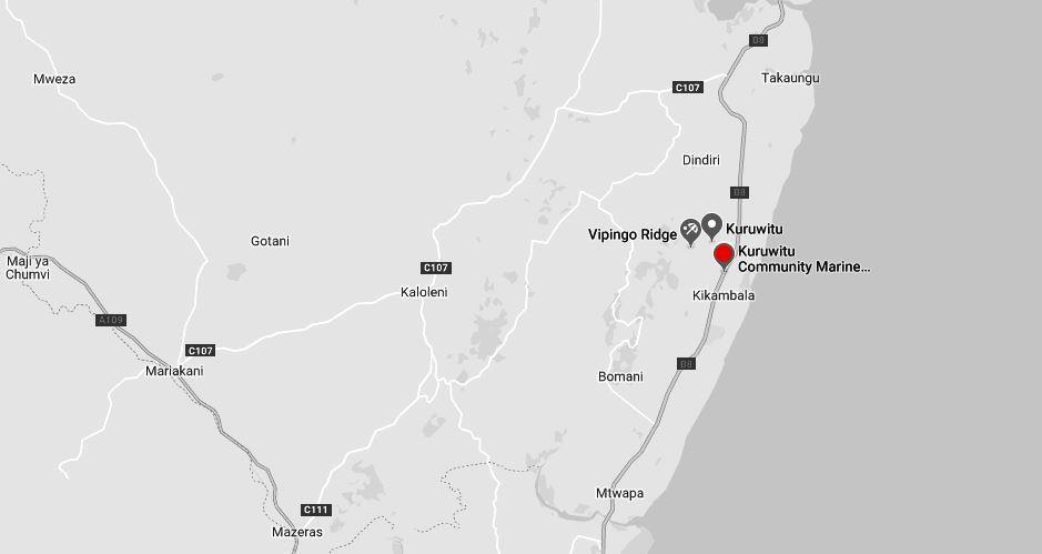 Spatial Location of Kuruwitu Community Marine Conservancy in Kilifi County