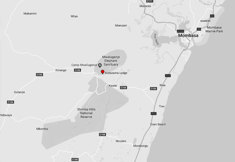 Spatial Location of Kutazama Lodge in Mwaluganje Sanctuary