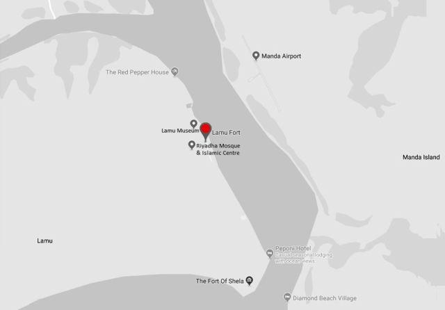 Spatial Location of Lamu Fort in Lamu Town
