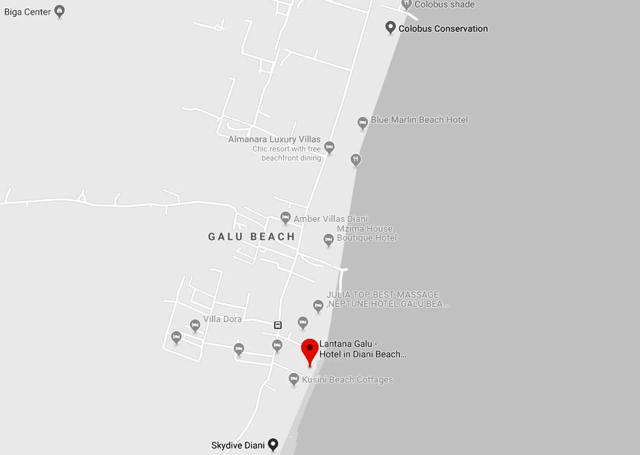 Spatial Location of Lantana Galu Hotel along Diani Beach Road