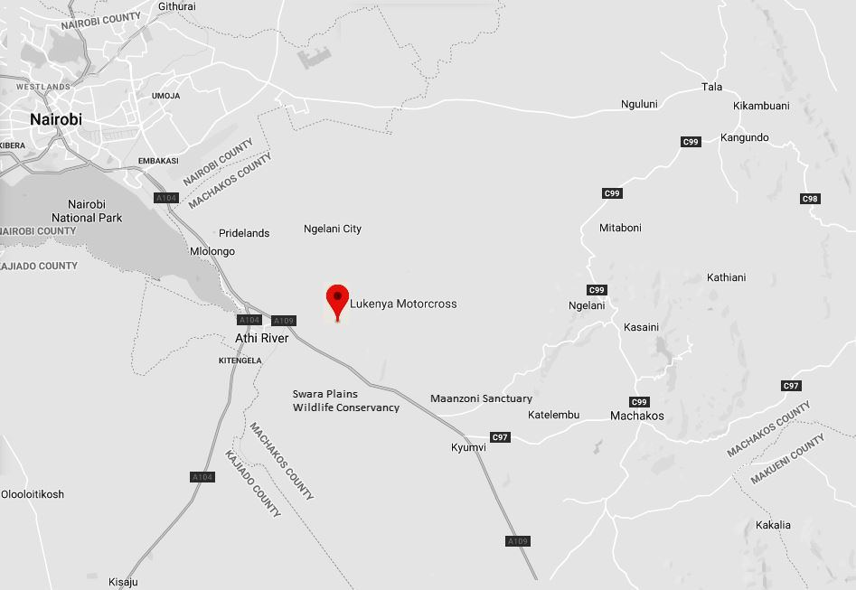 Spatial Location of Lukenya Motorcross in Machakos County