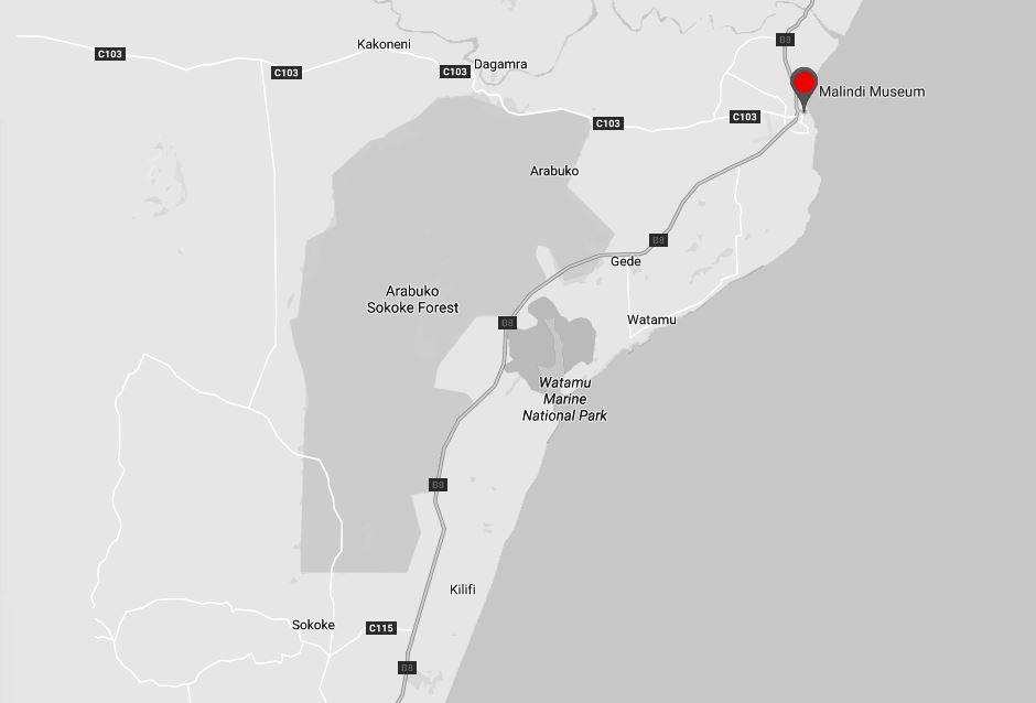 Spatial Location of Malindi Museum in Kilifi County
