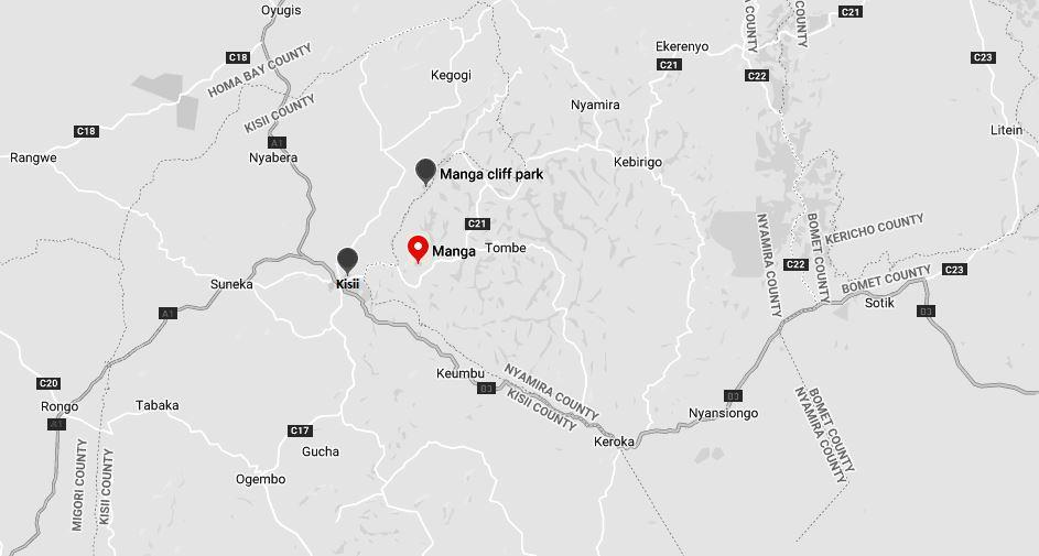 Spatial Location of the Manga Hills in Kisii County