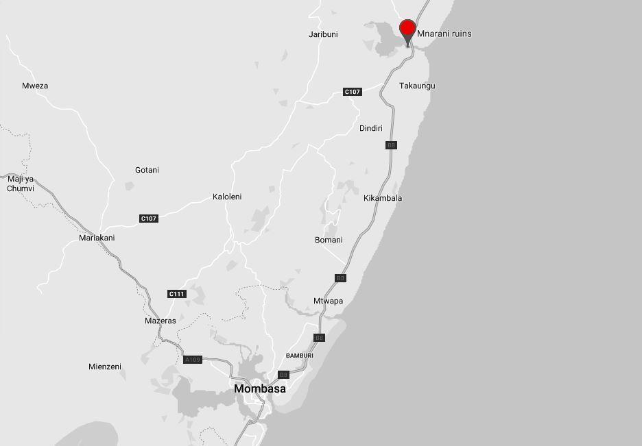 Spatial Location of Mnarani Ruins in Kilifi County